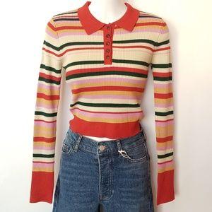 NWT Striped Collar Long Sleeve Shirt